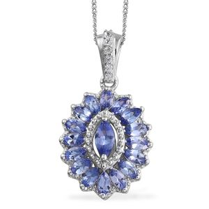 Tanzanite, Cambodian Zircon Platinum Over Sterling Silver Pendant With Chain (20 in) TGW 1.80 cts.