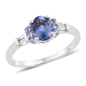 Tanzanite, Cambodian Zircon Platinum Over Sterling Silver Ring (Size 10.0) TGW 1.85 cts.