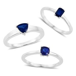 Blue Spinel Sterling Silver Set of 3 Solitaire Ring (Size 5) TGW 1.90 cts.