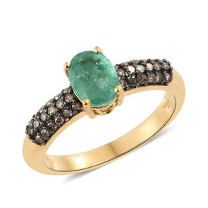 Brazilian Emerald, Natural Champagne Diamond Black Rhodium & Vermeil YG Over Sterling Silver Ring (Size 5.0) TDiaWt 0.36 cts, TGW 1.46 cts.