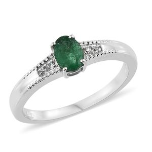 Brazilian Emerald, Cambodian Zircon Platinum Over Sterling Silver Ring (Size 5.0) TGW 0.85 cts.