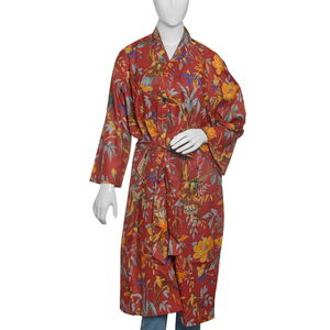 Bird Print Collection - Red 100% Cotton Screen Printed Kimono (One Size)