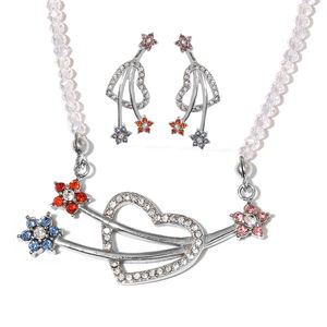 White Glass, Multi Gemstone Stainless Steel Earrings and Necklace (20 in) TGW 33.02 cts.