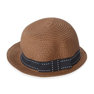 Brown 100% Straw Paper Fedora (One Size)