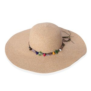Tan 100% Straw Paper Beaded String Floppy Hat (One Size)