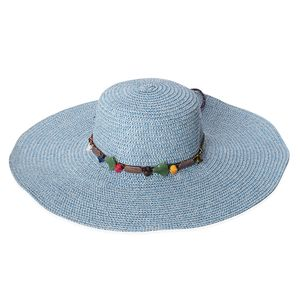 Blue 100% Straw Paper Beaded String Floppy Hat (One Size)