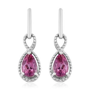 Pure Pink Mystic Topaz Platinum Over Sterling Silver Dangle Earrings TGW 2.75 cts.