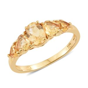 Brazilian Citrine 14K YG Over Sterling Silver 5 Stone Ring (Size 7.0) TGW 1.94 cts.