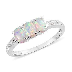 Natural Australian Opal, Simulated Diamond Sterling Silver Ring (Size 7.0) TGW 0.84 cts.
