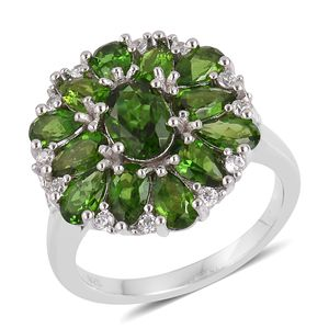 Russian Diopside, White Zircon Sterling Silver Cluster Ring (Size 8.0) TGW 3.51 cts.