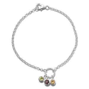 Multi Gemstone Sterling Silver Bracelet (7.50 In) TGW 0.91 cts.