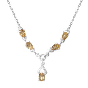 Brazilian Citrine Sterling Silver Teardrop Necklace with Stainless Steel Chain (18 in) TGW 1.80 cts.