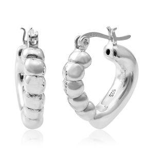 Sterling Silver Heart Hoop Earrings (5.5 g)