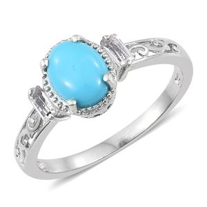 Memorial Day Doorbuster Arizona Sleeping Beauty Turquoise, White Topaz Platinum Over Sterling Silver Ring (Size 10.0) TGW 2.75 cts.