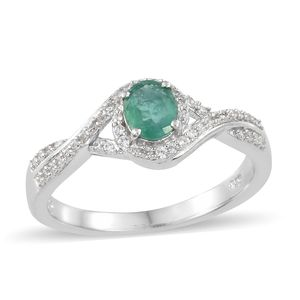 Brazilian Emerald, Cambodian Zircon Platinum Over Sterling Silver Split Ring (Size 7.0) TGW 1.00 cts.