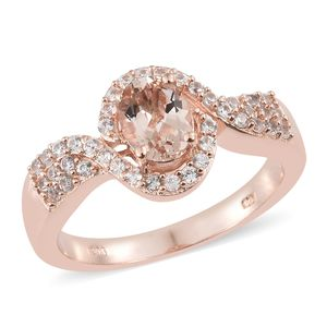 Customer Appreciation Day Marropino Morganite, Cambodian Zircon Vermeil RG Over Sterling Silver Ring (Size 5.0) TGW 1.61 cts.