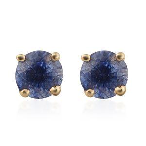 Masoala Sapphire 14K YG Over Sterling Silver Stud Earrings TGW 0.77 cts.