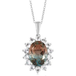 Aqua Terra Costa Quartz, White Topaz Platinum Over Sterling Silver Pendant With Chain (20 in) TGW 8.25 cts.