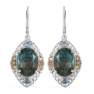 Aqua Terra Costa Quartz, Multi Gemstone Platinum Over Sterling Silver Lever Back Earrings TGW 13.60 cts.