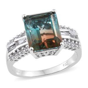 Aqua Terra Costa Quartz, White Topaz Platinum Over Sterling Silver Ring (Size 7.0) TGW 8.40 cts.