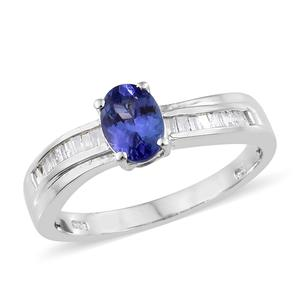 Tanzanite, Diamond Platinum Over Sterling Silver Ring (Size 7.0) TDiaWt 0.20 cts, TGW 1.20 cts.