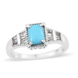 Arizona Sleeping Beauty Turquoise, White Topaz Platinum Over Sterling Silver Ring (Size 10.0) TGW 1.60 cts.