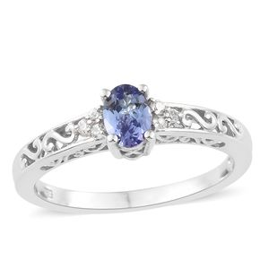 Tanzanite, Cambodian Zircon Platinum Over Sterling Silver Ring (Size 5.0) TGW 0.60 cts.