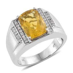 Yellow Fluorite, Cambodian Zircon Platinum Over Sterling Silver Men's Signet Ring (Size 14.0) TGW 8.10 cts.