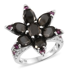 Shungite, Multi Gemstone Platinum Over Sterling Silver Floral Ring (Size 9.0) TGW 7.38 cts.