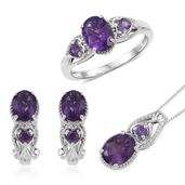 Lusaka Amethyst Platinum Over Sterling Silver Earrings, Ring (Size 6) and Pendant With Chain (20 in) TGW 5.94 cts.