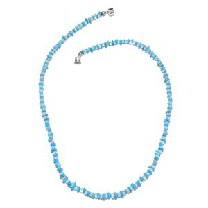 Arizona Sleeping Beauty Turquoise, Ethiopian Welo Opal Platinum Over Sterling Silver Necklace (18 in) with Magnetic Lock TGW 60.80 cts.
