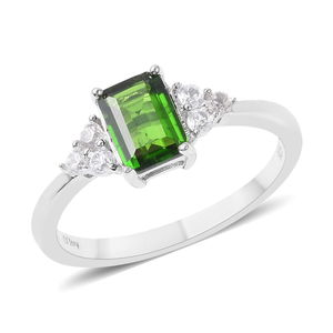 Russian Diopside, White Zircon Sterling Silver Ring (Size 10.0) TGW 1.30 cts.