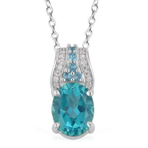 Paraiba Topaz, Multi Gemstone Sterling Silver Pendant With Chain (18 in) TGW 2.23 cts.
