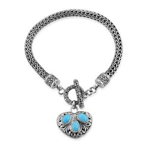 Bali Legacy Collection Arizona Sleeping Beauty Turquoise Sterling Silver Bracelet (7.50 In) TGW 1.95 cts.