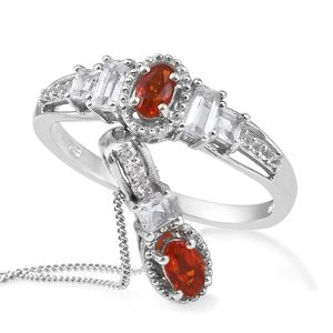 Crimson Fire Opal Platinum Over Sterling Silver Ring (Size 10) and Pendant With Chain (20 in) TGW 1.07 cts.