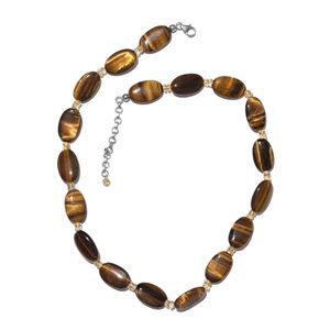 South African Tigers Eye, Brazilian Citrine Platinum Over Sterling Silver Necklace (18 in) with Lobster Lock TGW 168.80 cts.