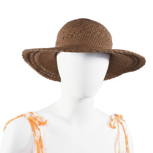 Taupe 100% Cotton Crochet Beach Hat (One Size)