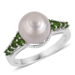 White South Sea Pearl (9-10 mm), Russian Diopside Sterling Silver Ring (Size 10.0) TGW 0.48 cts.
