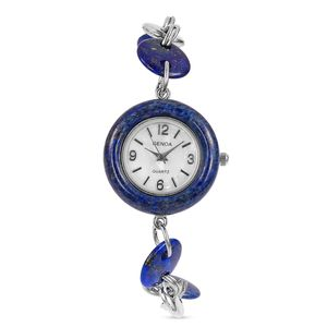 GENOA Lapis Lazuli Miyota Japanese Movement Water Resistant Bracelet Watch in Silvertone with Stainless Steel Back (8 in) TGW 47.50 cts.