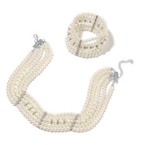 White Glass Pearl, White Austrian Crystal Black Oxidized Silvertone Bracelet (6.50 in) and Necklace (15.50 In) TGW 371.50 cts.