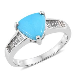Arizona Sleeping Beauty Turquoise, White Topaz Platinum Over Sterling Silver Ring (Size 7.0) TGW 2.60 cts.