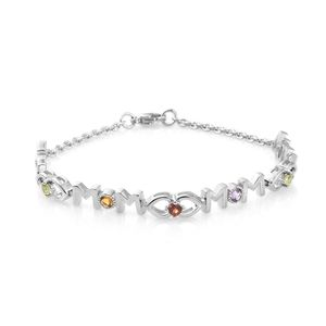 Mother's Day Special KARIS Collection - Mozambique Garnet, Multi Gemstone Platinum Bond Brass Bracelet (7.50 In) TGW 0.94 cts.