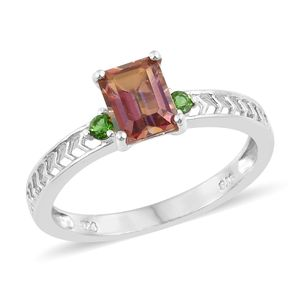 Northern Lights Twilight Topaz, Russian Diopside Platinum Over Sterling Silver Ring (Size 7.0) TGW 2.05 cts.
