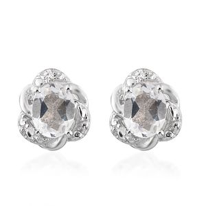 Brazilian Goshenite, Simulated Diamond Platinum Over Sterling Silver Floral Stud Earrings TGW 0.68 cts.