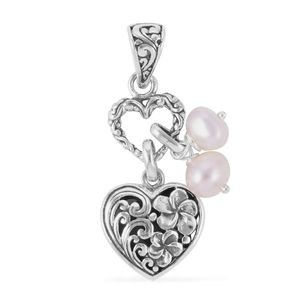 Bali Legacy Collection Freshwater Pearl Sterling Silver Heart Pendant without Chain