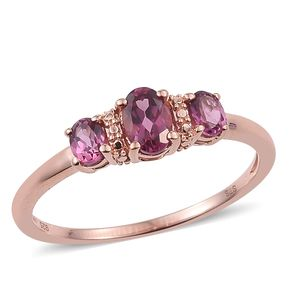 Tanzanian Pink Garnet 14K RG Over Sterling Silver 3 Stone Ring (Size 5.0) TGW 1.10 cts.