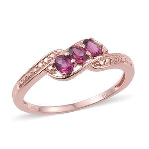 Tanzanian Pink Garnet 14K RG Over Sterling Silver 3 Stone Ring (Size 5.0) TGW 1.50 cts.
