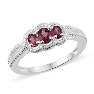 Tanzanian Pink Garnet Sterling Silver 3 Stone Ring (Size 5.0) TGW 0.95 cts.