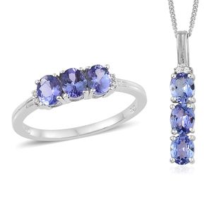 Tanzanite, Cambodian Zircon Platinum Over Sterling Silver Trilogy Ring (Size 8) and Pendant With Chain (20 in) TGW 2.25 cts.