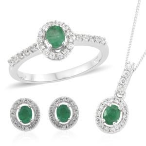 Brazilian Emerald, Cambodian Zircon Platinum Over Sterling Silver Earrings, Ring (Size 5) and Pendant With Chain (20 in) TGW 2.69 cts.